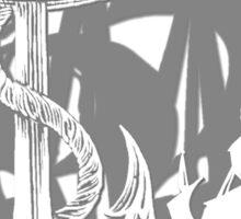 Pirate Ships & Anchor White Silhouette Sticker