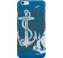 Pirate Ships & Anchor White Silhouette iPhone Case/Skin