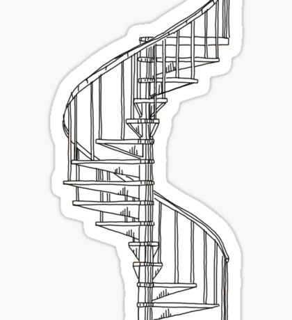 spiral staircase line drawing Sticker