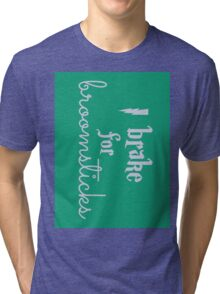Brake for Broomsticks - Harry Potter Quidditch Slytherin Tri-blend T-Shirt