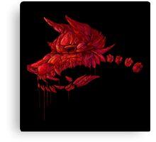 Blood Crystal Werewolf Skull - Black BG Canvas Print
