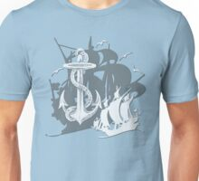 Pirate Ships & Anchor White Silhouette Unisex T-Shirt