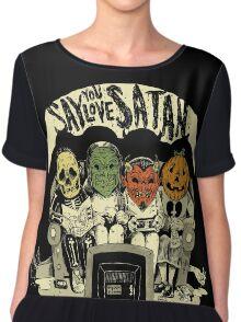 Say You Love Satan 80s Horror Podcast Logo Chiffon Top