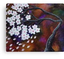 Abstract Tree White Cherry Blossoms Canvas Print