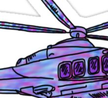 purple and blue helicopter Sticker
