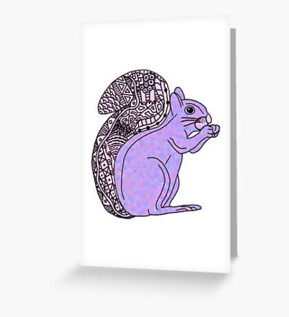 purple patterned squirrel Greeting Card