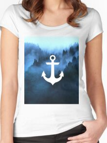 Blue Mist White Anchor Women's Fitted Scoop T-Shirt