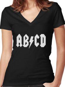 AB/CD White Women's Fitted V-Neck T-Shirt
