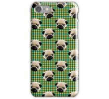 Pugs on Blue and Green Plaid iPhone Case/Skin