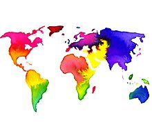 Rainbow Watercolor World Map Photographic Print