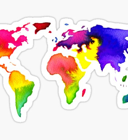 Rainbow Watercolor World Map Sticker