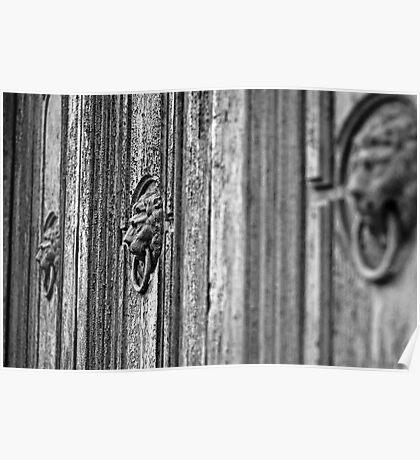 Old door Knockers - monochrome Poster