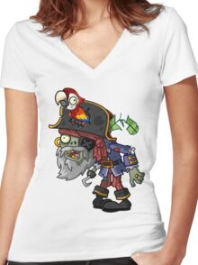 PLANTS VS ZOMBIES PRATES Women's Fitted V-Neck T-Shirt