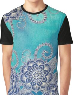Mermaid's Garden - Navy & Teal Floral on Watercolor Graphic T-Shirt