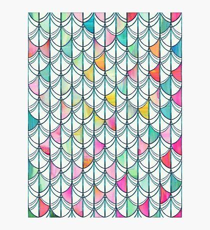 Pencil & Paint Fish Scale Cutout Pattern - white, teal, yellow & pink Photographic Print