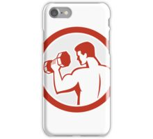 Man Lifting Dumbbell Fitness Retro iPhone Case/Skin