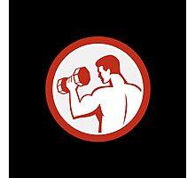 Man Lifting Dumbbell Fitness Retro Photographic Print