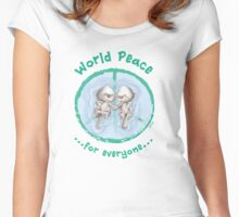 WORLD PEACE OTTERS - Green on White Women's Fitted Scoop T-Shirt