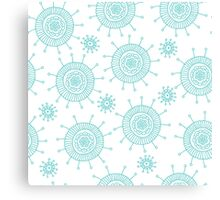 Beautiful seamless blue doodle flower pattern. Abstract cute background.  Canvas Print