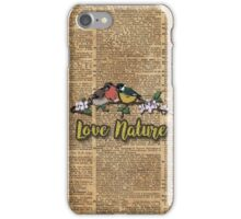 Small birds on tree branch Vintage Dictionary Art Love Nature iPhone Case/Skin