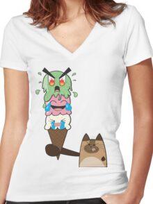 Kitty-Scream Women's Fitted V-Neck T-Shirt