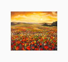 Field of red poppies at sunset in valley of mountains Original flowers oil painting on canvas. Impressionism art. Palette knife painting. Unisex T-Shirt