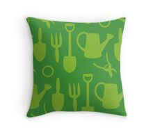 Green Garden Tools Throw Pillow