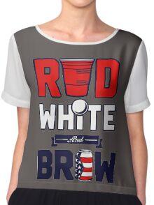 RED-WHITE-BREW Chiffon Top