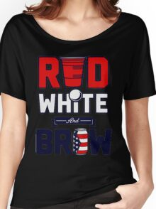 RED-WHITE-BREW Women's Relaxed Fit T-Shirt