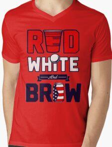 RED-WHITE-BREW Mens V-Neck T-Shirt