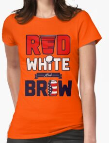 RED-WHITE-BREW Womens Fitted T-Shirt
