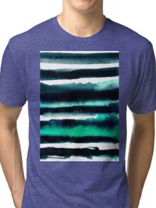 Black and green abstract watercolor painting Tri-blend T-Shirt