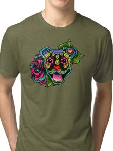 Smiling Pit Bull in Black - Day of the Dead Happy Pitbull - Sugar Skull Dog Tri-blend T-Shirt
