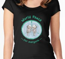 WORLD PEACE OTTERS - Green on Black Women's Fitted Scoop T-Shirt