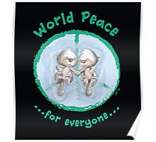 WORLD PEACE OTTERS - Green on Black Poster