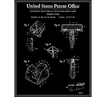 Baseball Base Patent - Black Photographic Print