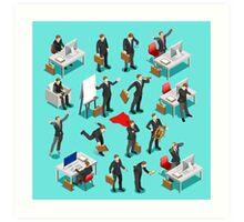 Businessman Leader Isometric Art Print