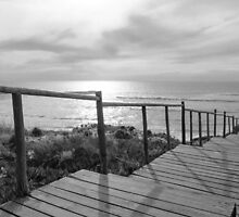 Wooden boardwalk to the beach by Stanciuc