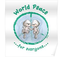 WORLD PEACE OTTERS - Green on White Poster