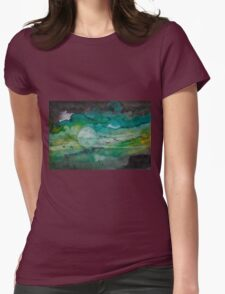 Birds in green sky  Womens Fitted T-Shirt