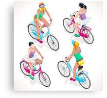 Teen Girl Cycling Canvas Print