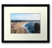 View over Nazare beach in Portugal Framed Print