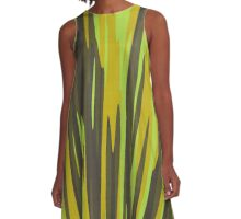 yellow and brown streaks A-Line Dress