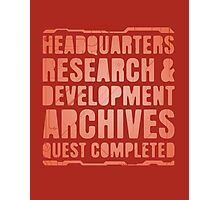 Headquarters, Research & Development, Archives, Quest Completed Photographic Print