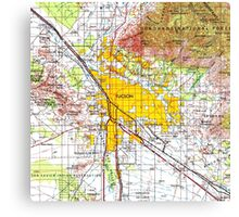 Tucson old map year 1956, original yellow city map Canvas Print
