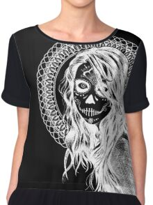Day of the Dead Mandala Girl (Black and White Inverted)  Chiffon Top