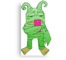 Degrader monster with cell phone (digital art) Canvas Print