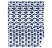 Pattern 012 Royal Blue Oval Shapes Stitching Poster