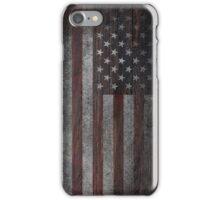 American Flag on Weathered Wood iPhone Case/Skin
