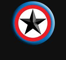 Bulls Eye Star, Right on Target, Roundel, Archery, Star, Badge, Buttton, on Black, Unisex T-Shirt